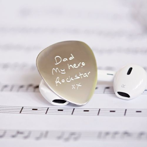 Engraved Steel Guitar Plectrum Unique Gift For Musicians Personalised With Own Handwritin